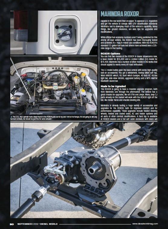 PressReader - Diesel World: 2018-09-01 - MAHINDRA ROXOR