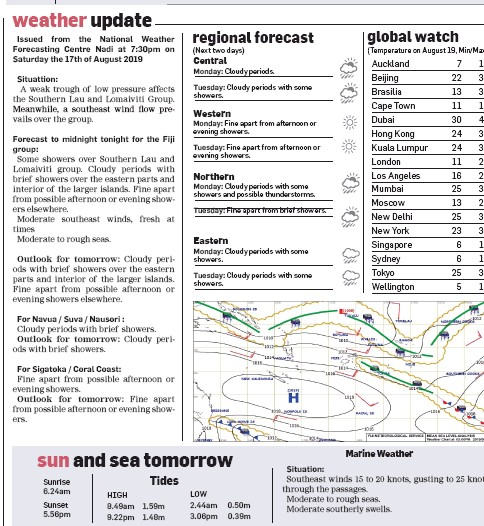 PressReader - Fiji Sun: 2019-08-18 - weather update