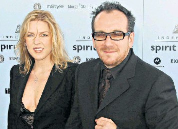 Unfaithful Musician Elvis Costello Seen Left With Third Wife Diana Krall And Far At A Birmingham Concert In 2013