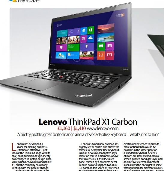 PressReader - Windows Help & Advice: 2014-06-06 - Lenovo ThinkPad X1