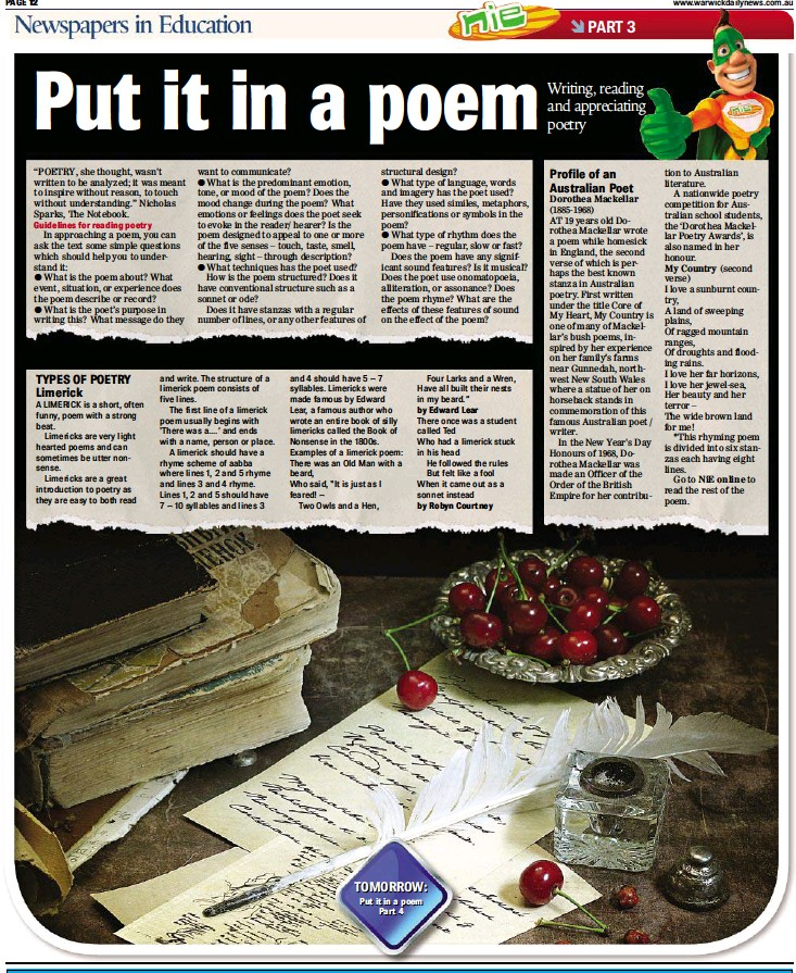 PressReader - Warwick Daily News: 2014-03-19 - Put it in a poem