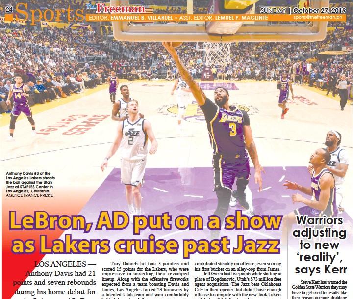 Pressreader The Freeman 2019 10 27 Lakers Cruise Past Jazz