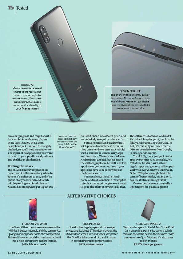 PressReader - Australian T3: 2019-06-17 - XIAOMI MI MIX 3