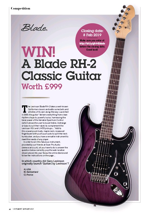 PressReader - Guitarist: 2018-12-14 - WIN! A Blade RH-2