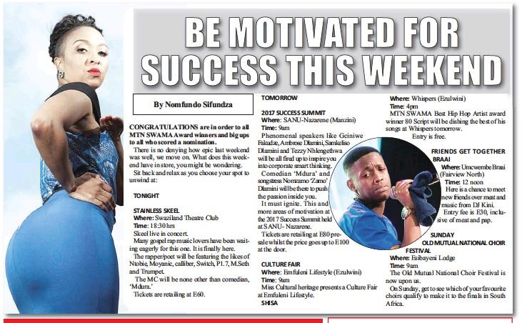 PressReader - Swazi Observer: 2017-08-11 - BE MOTIVATED FOR