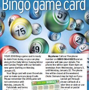Daily Mirrow Bingo