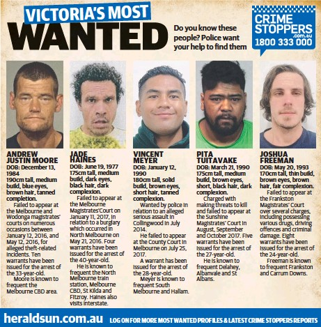 PressReader - Herald Sun: 2018-01-15 - VICTORIA'S MOST WANTED