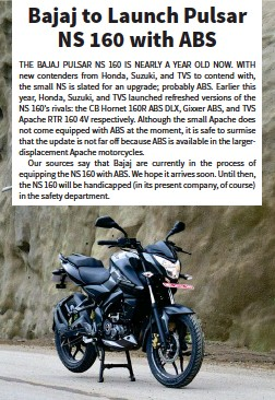 PressReader - Bike India: 2018-07-10 - Bajaj to Launch Pulsar NS 160