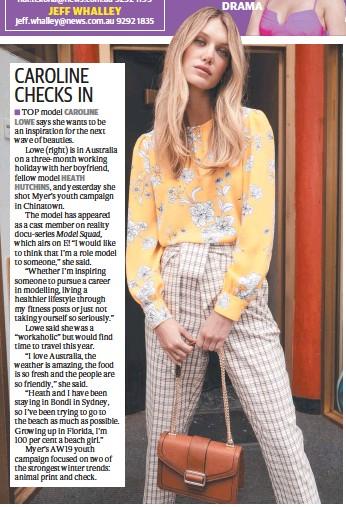 PressReader - Herald Sun: 2019-04-03 - CAROLINE CHECKS IN
