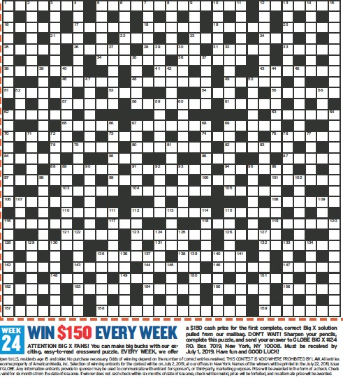 Pressreader Globe 2019 06 17 Big X Americas Biggest Crossword