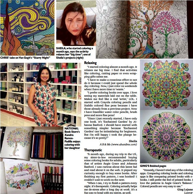 Who Started Coloring A Month Ago Says The Activity Relaxes Her Big Time One Of Sheilas Projects Right NATIONAL Book Stores Xandra RamosPadilla
