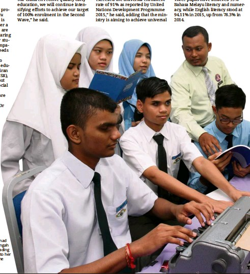 Pressreader the star malaysia 2016 08 14 first wave of the education for all muspirah ahmad salim a teacher at sekolah menengah pendidikan khas penglihatan reading out the blueprints annual report to her malvernweather Choice Image