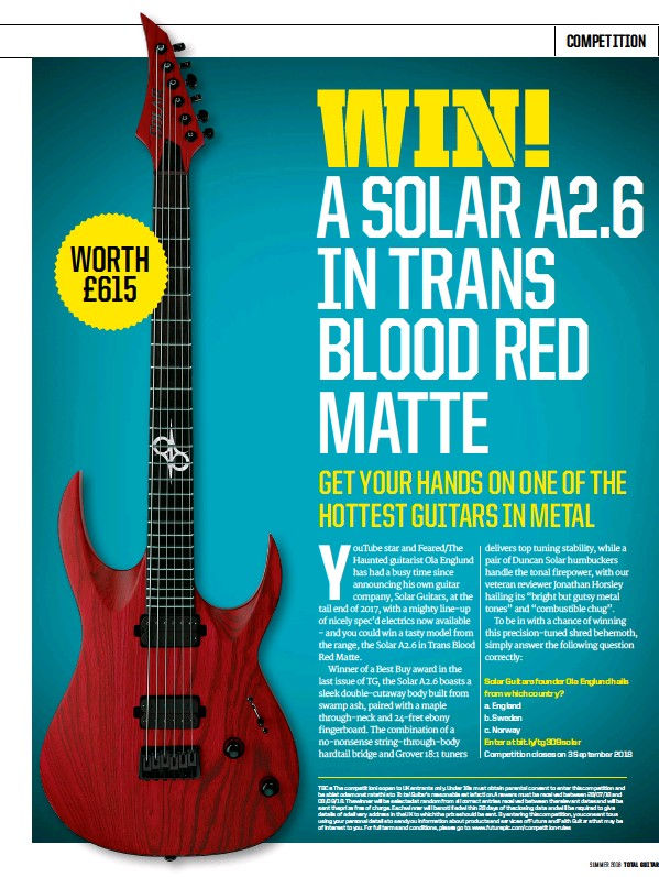 PressReader - Total Guitar: 2018-08-03 - WIN! A SOLAR A2 6