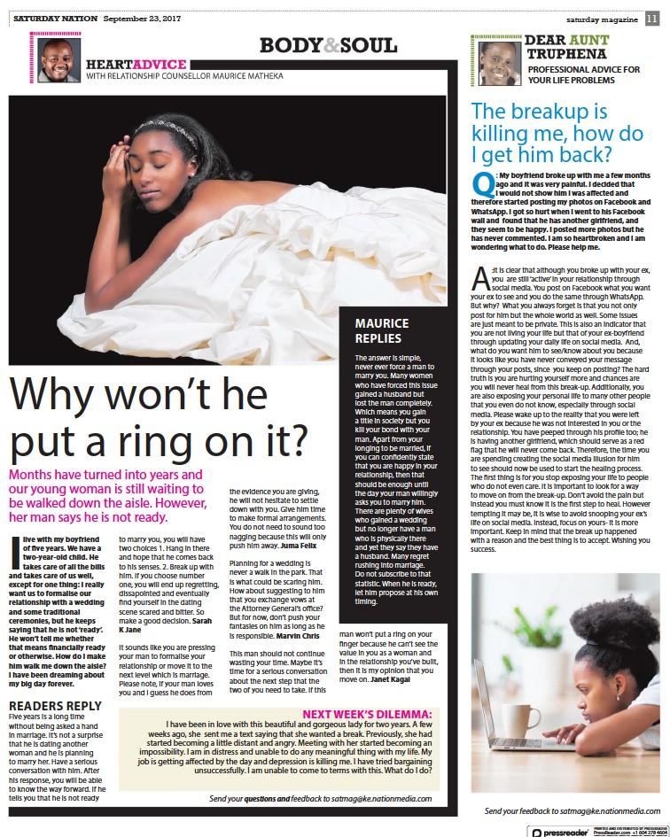 PressReader - Daily Nation (Kenya): 2017-09-23 - The breakup