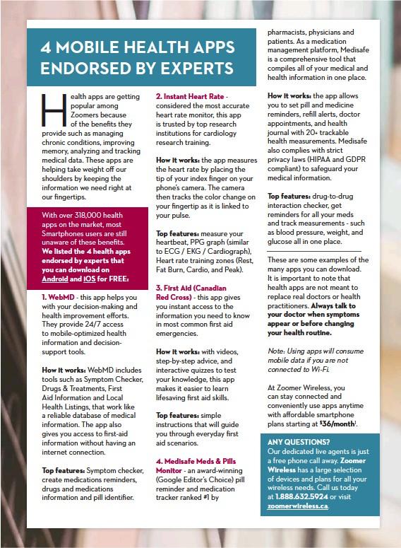 PressReader - ZOOMER Magazine: 2019-04-01 - 4 MOBILE HEALTH