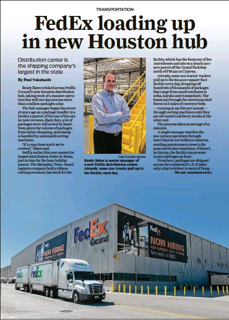 PressReader - Houston Chronicle: 2017-10-30 - New FedEx hub up and