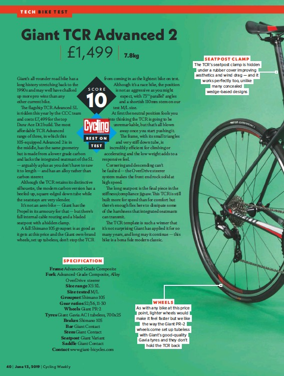 PressReader - Cycling Weekly: 2019-06-13 - Giant TCR Advanced 2