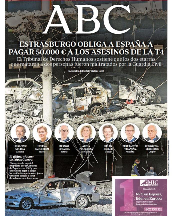 ESTRASBURGO OBLIGA A ESPAÑA A PAGAR 50.000 € A LOS ASESINOS DE LA T4