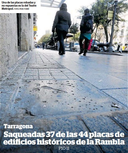 SAQUEADAS 37 DE LAS 44 PLACAS DE EDIFICIOS HISTÓRICOS DE LA RAMBLA